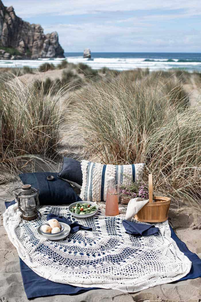 Romantic beach picnic setting.