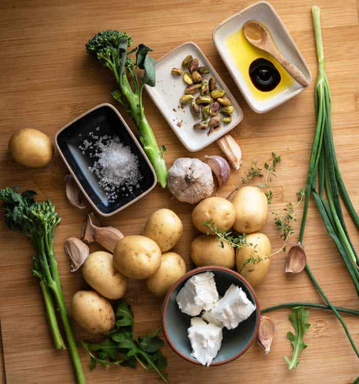 Roast potato and broccoli salad raw ingredients.