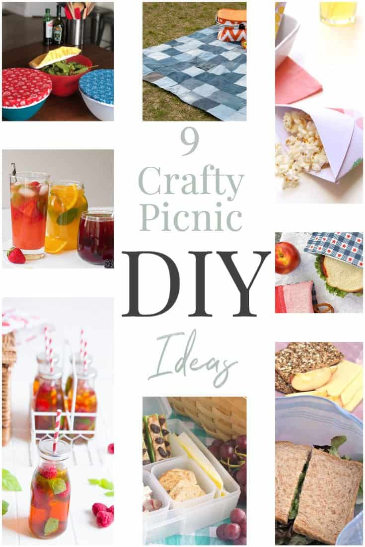 Collage of images for picnic DIY ideas.