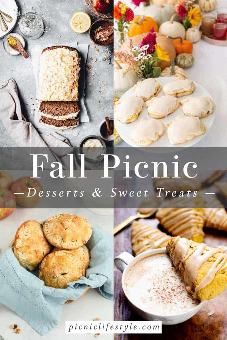 Collage of fall inspired picnic desserts