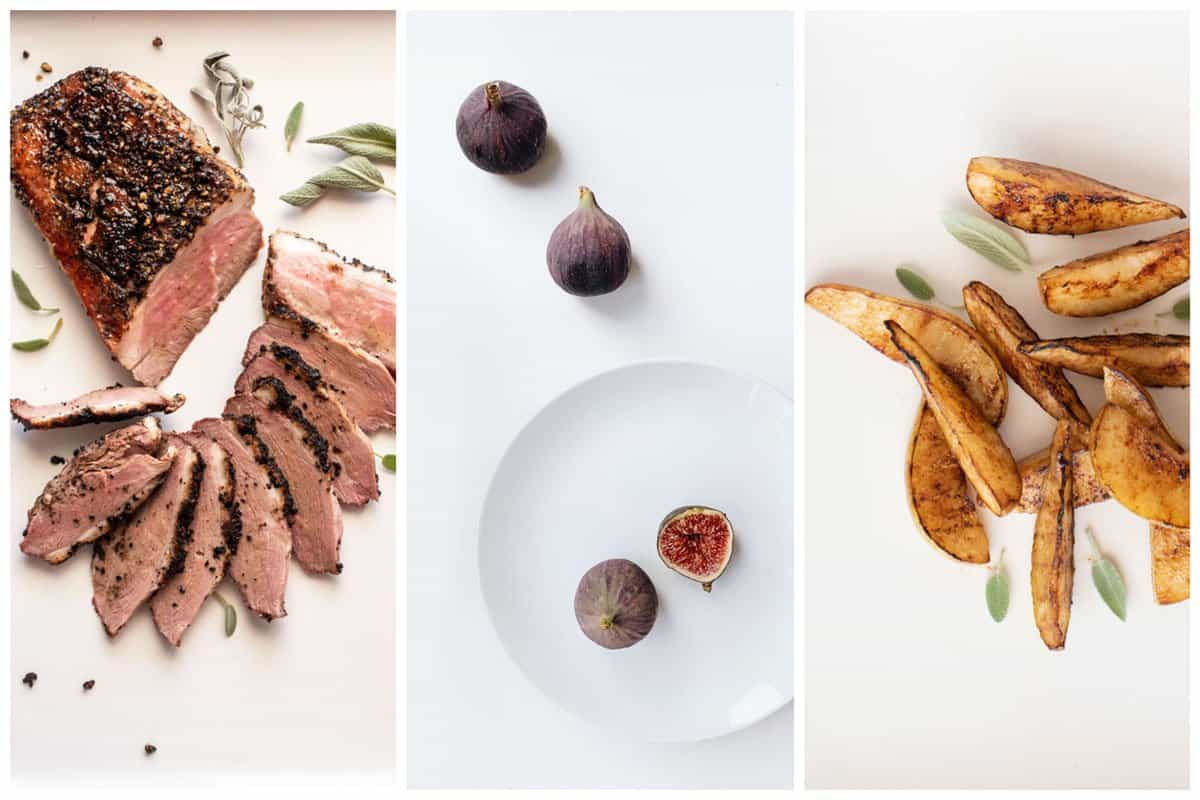 Collage showing sliced duck breast, figs, and grilled pears.