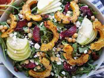 Fall inspired salad for a picnic with pumpkin and apple.