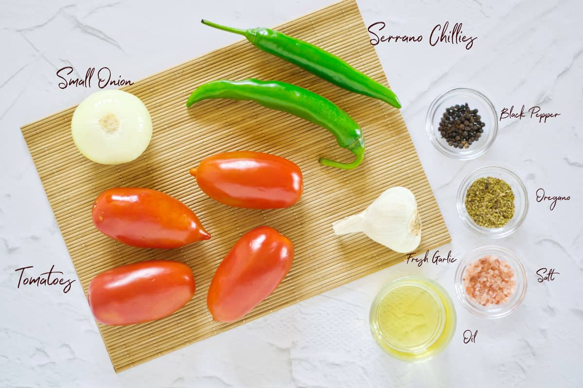Ingredients laid out to make Mexican Salsa Roja