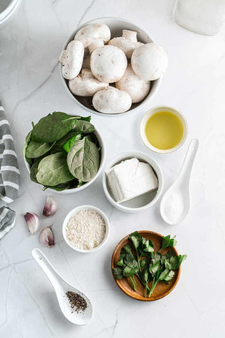 Ingredients for stuffed mushrooms.