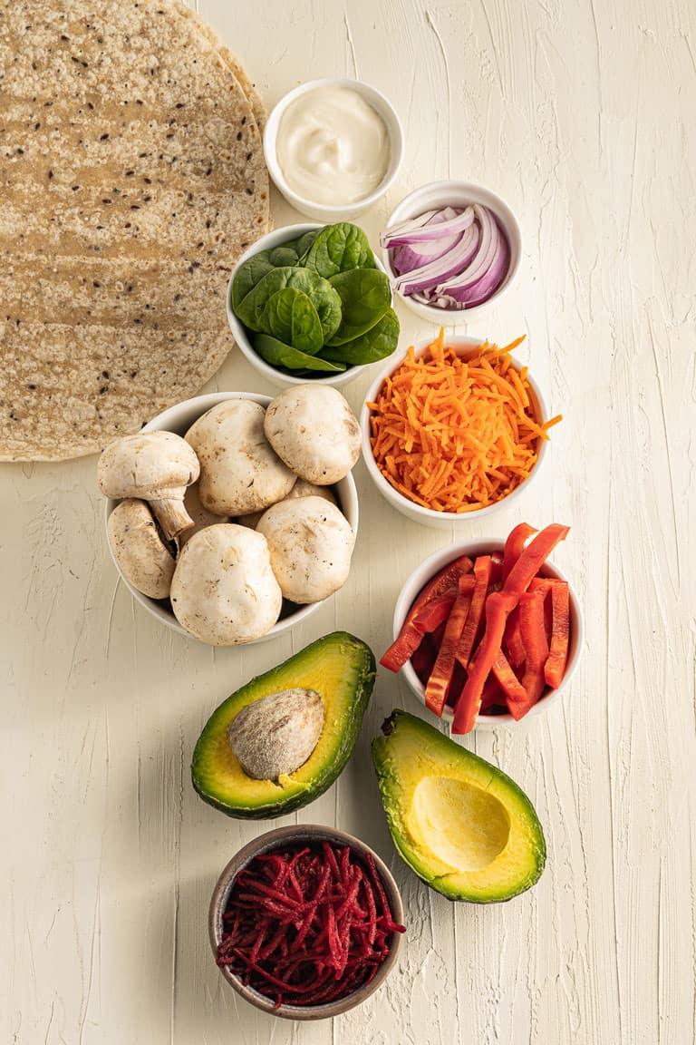 Ingredients for raw veggie wraps.