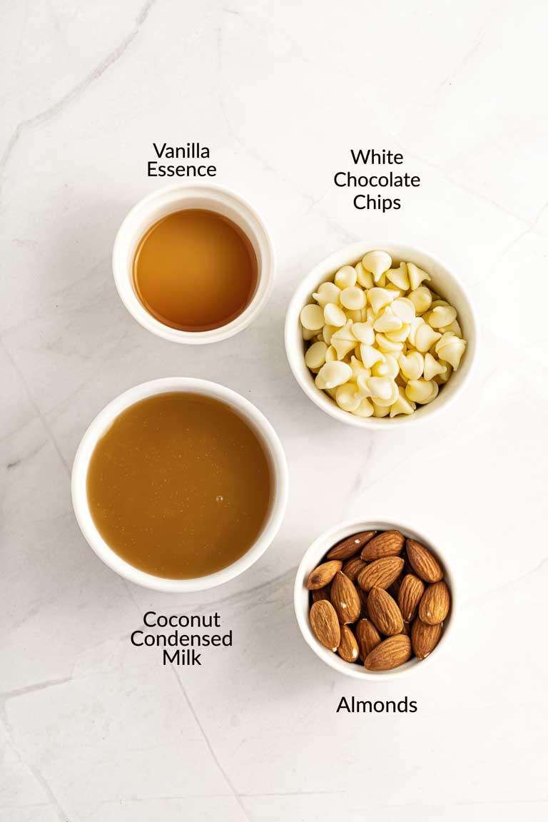 Ingredients for white chocolate fudge.