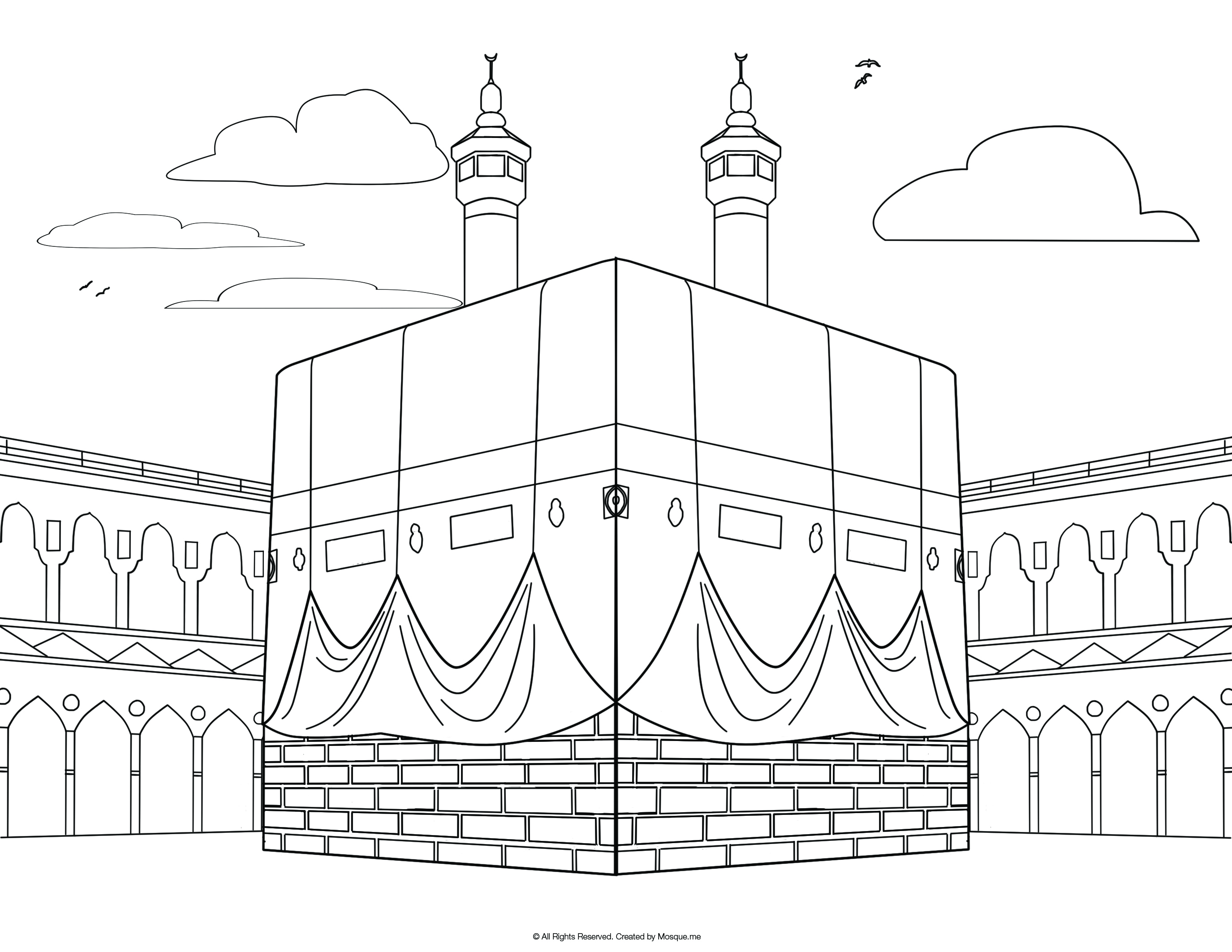 The Kaaba Colouring Page