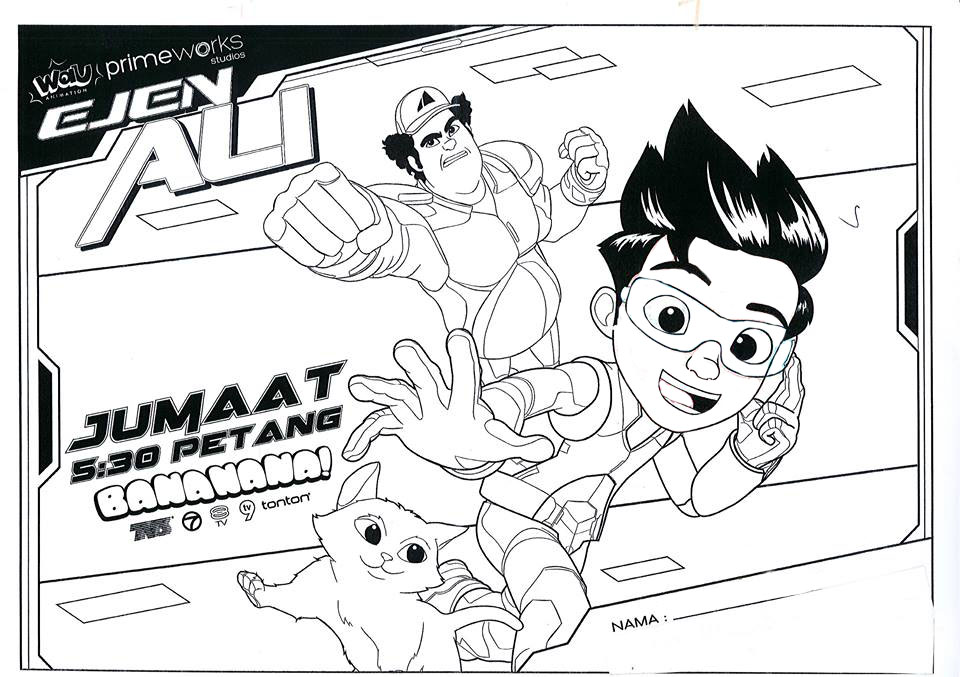 Ejen Ali Super Power School Boy Colouring Pages  Picolour