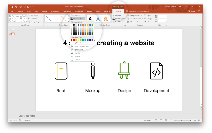 Change color of vector icons in PowerPoint
