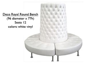 White Vinyl Deco Royal Round Bench