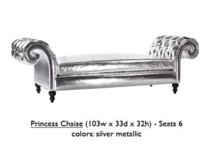 Silver Metallic Princess Chaise