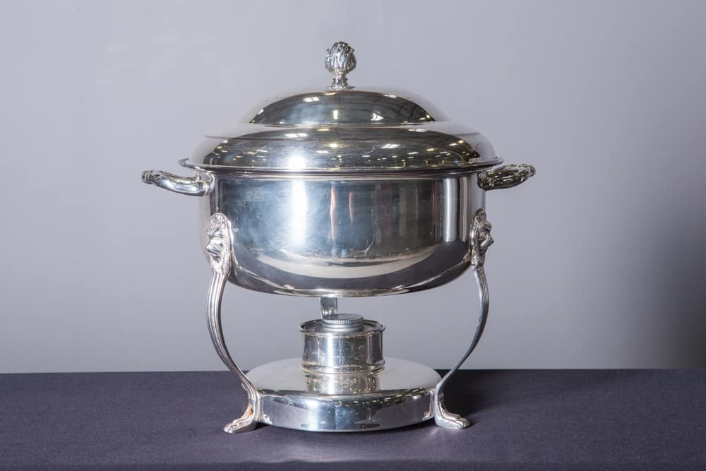 Silver Round Chafing Dish 8 Quart Catering Rentals