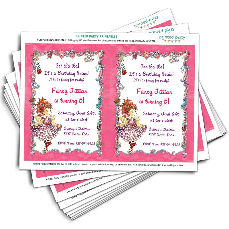 Printable Fancy Nancy Invitations Template Printed Party