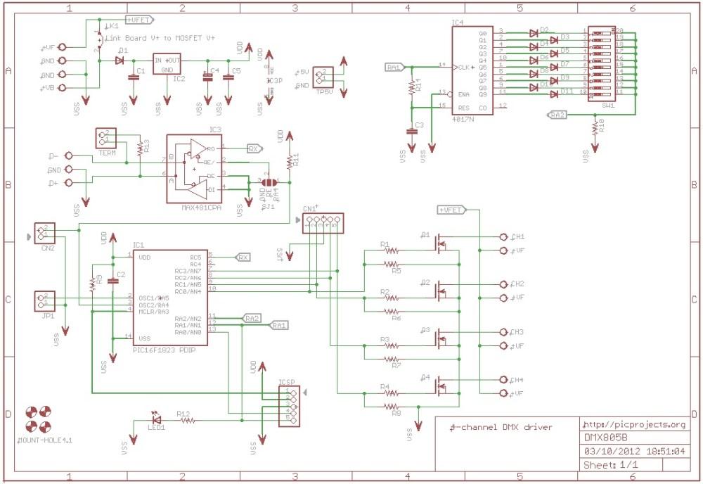medium resolution of schematic 4 channel dmx driver board 805