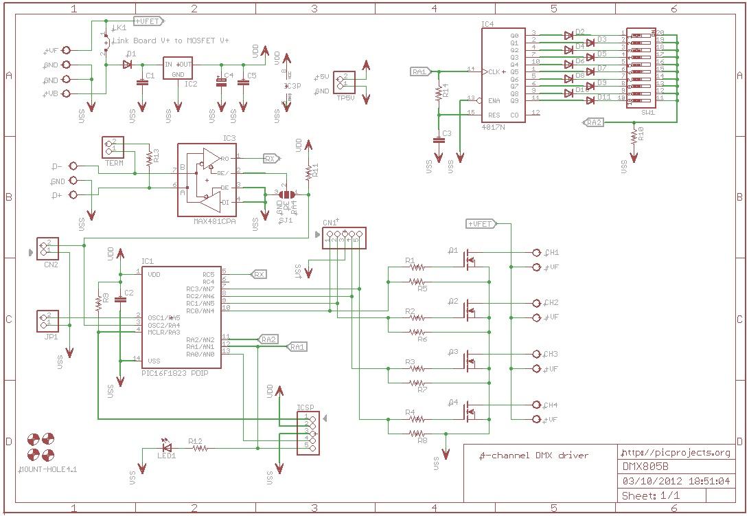 hight resolution of schematic 4 channel dmx driver board 805