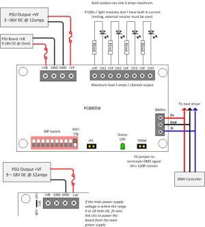 DMX512 4 Channel Driver Board