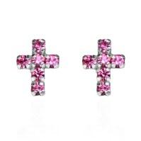 Cute Petite Cross Pink CZ .925 Silver Stud Earrings