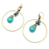 Brass Turquoise Dangle Hoop Earrings   eBay