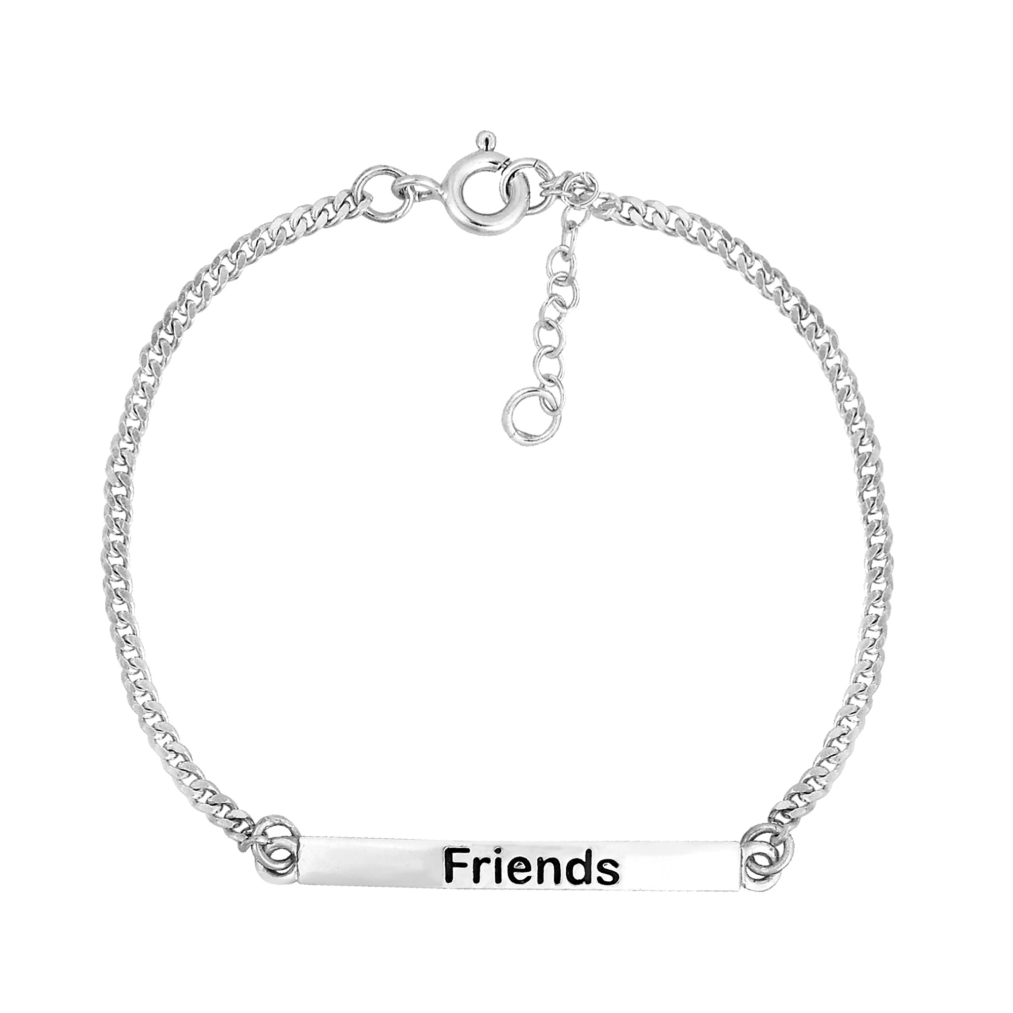 Friends Bar Sterling Silver Chain Friendship Bracelet