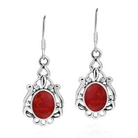 Vintage Style Oval Red Coral .925 Silver Earrings