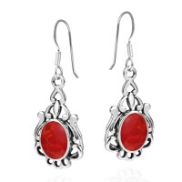 Vintage Style Oval Red Coral .925 Silver Earrings | eBay