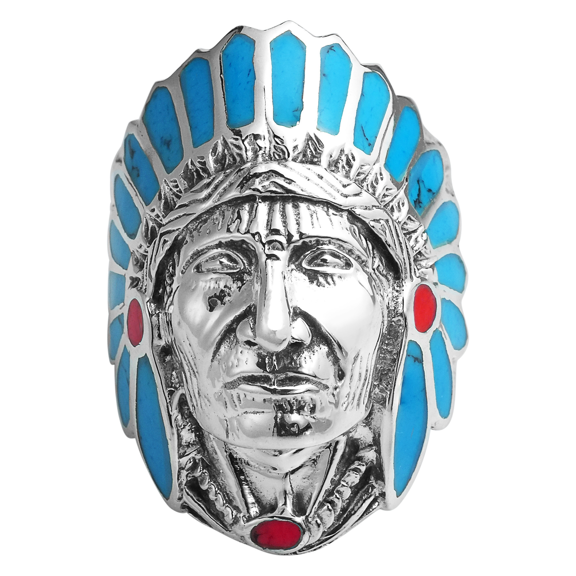 BlueRed Stone Accented Native American Indian Chief Head 925 Silver Ring7  eBay