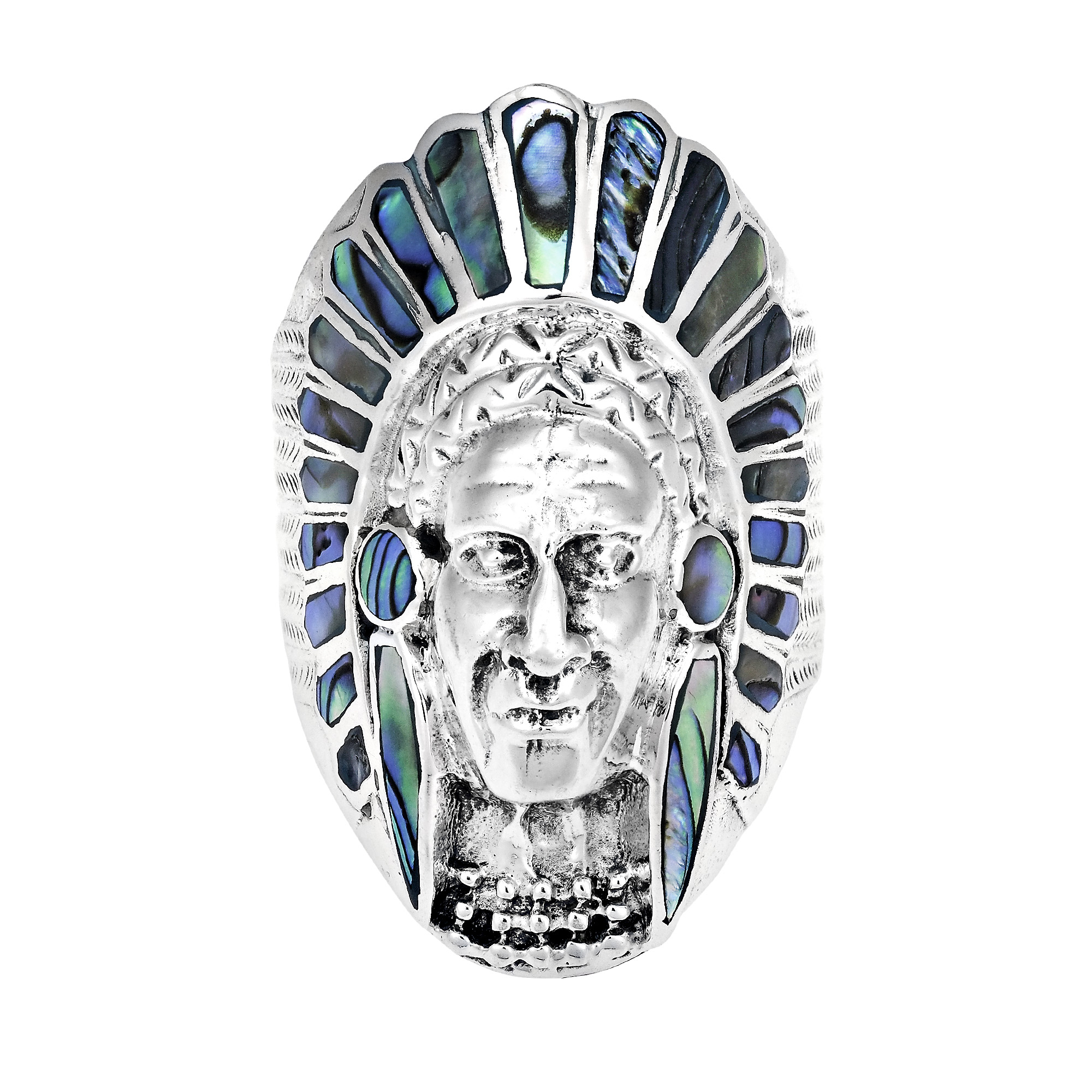 Native American Indian Chief Head Abalone Stone 925 Silver Ring7  eBay