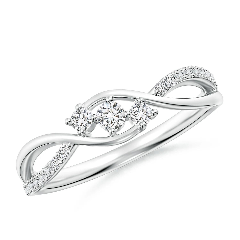 Diamond Infinity Twist Three Stone Bypass Ring