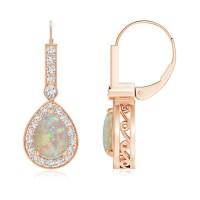 Vintage Style Opal Drop Earrings with Diamond Halo | Angara
