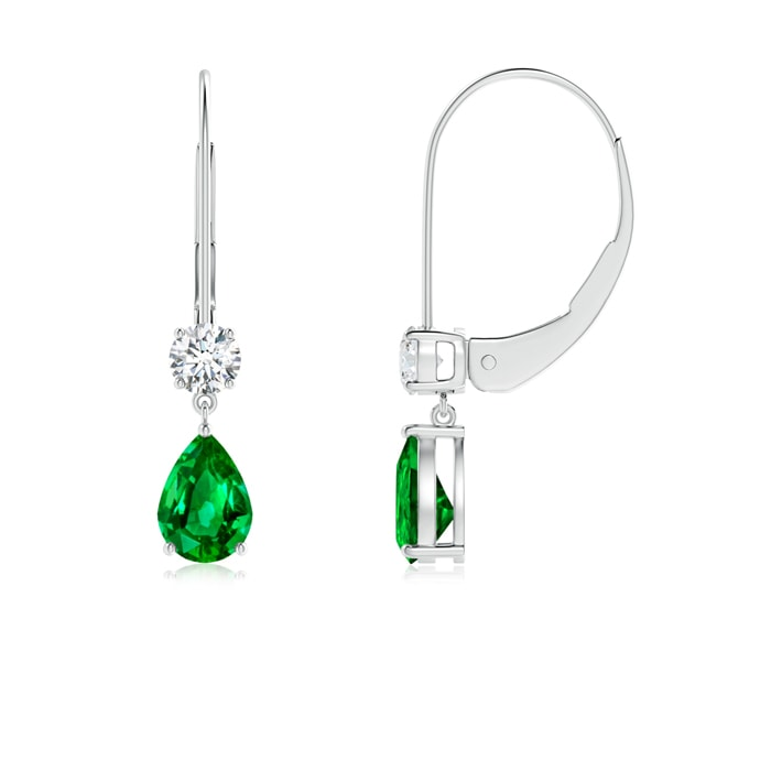 Pear Emerald Leverback Drop Earrings with Diamond