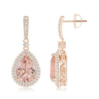 Morganite Drop Earrings with Diamond Double Halo | Angara