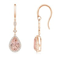 Pear-Shaped Morganite Drop Earrings with Diamond Halo | Angara