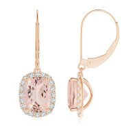Cushion Morganite Leverback Earrings with Diamond Halo ...