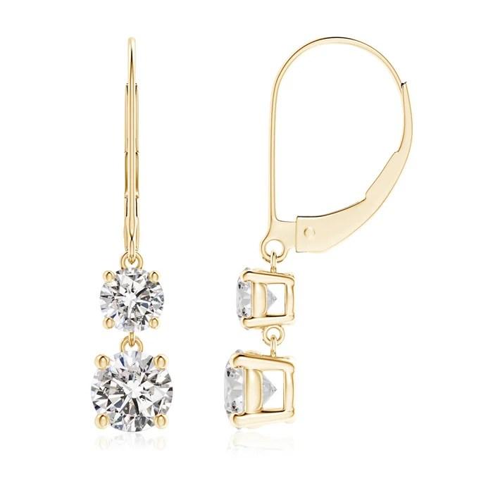 Leverback Double Diamond Dangle Drop Earrings