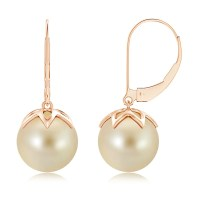 Golden South Sea Cultured Pearl Leverback Drop Earrings