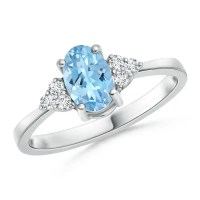 Solitaire Oval Aquamarine and Diamond Promise Ring | Angara