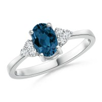 Solitaire Oval London Blue Topaz and Diamond Promise Ring ...
