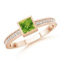 Bezel-Set Square Peridot Stackable Promise Ring   Angara