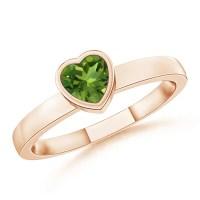 Bezel-Set Solitaire Heart Peridot Promise Ring   Angara
