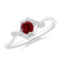 Solitaire Garnet Bypass Promise Ring with Diamond Accents