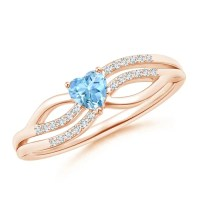 Solitaire Aquamarine Heart Promise Ring with Diamond ...
