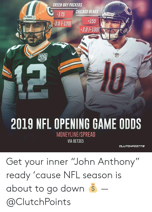 """Chicago Bears Memes 2019 : chicago, bears, memes, GREEN, PACKERS, CHICAGO, BEARS, SURSANS, OPENING, MONEYLINESPREAD, BET365, CLUTCHPOINTS, Inner, """"John, Anthony"""", Ready, 'cause"""