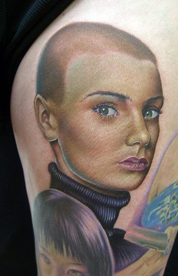 Ladies tattoos are sometimes done in color, but they can also be done in