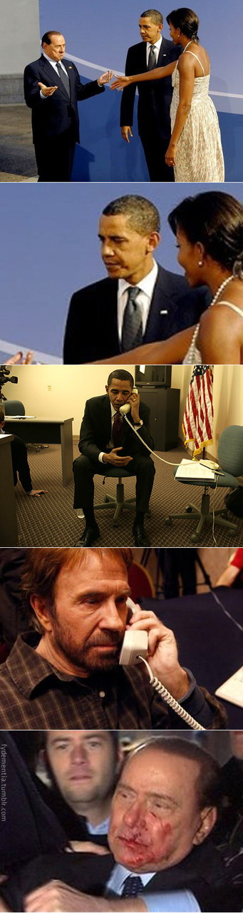 Obama-Chuck Norris-Silvio Berlusconi