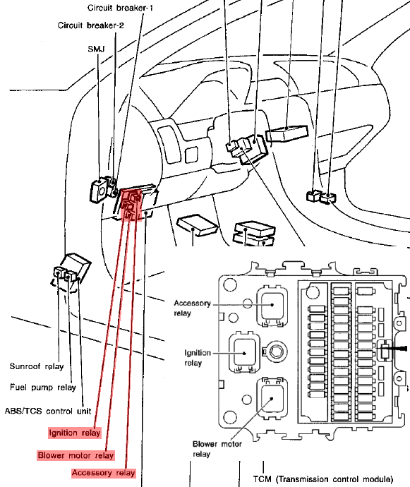 Nissan primera fuel pump relay location