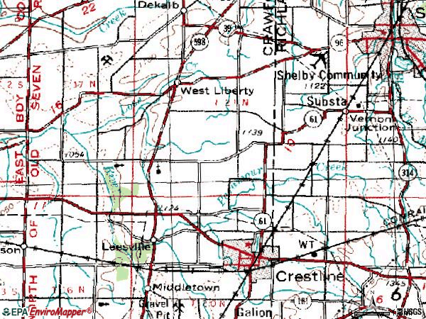 City Crestline Ohio Map