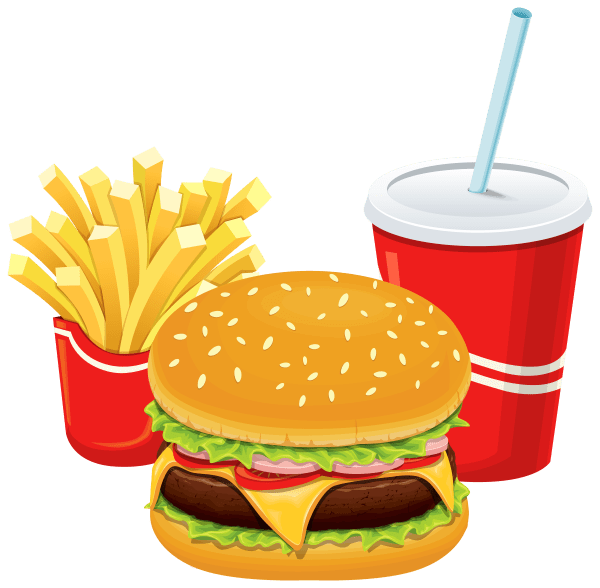 Hamburger Fries And Cola Clipart - Web