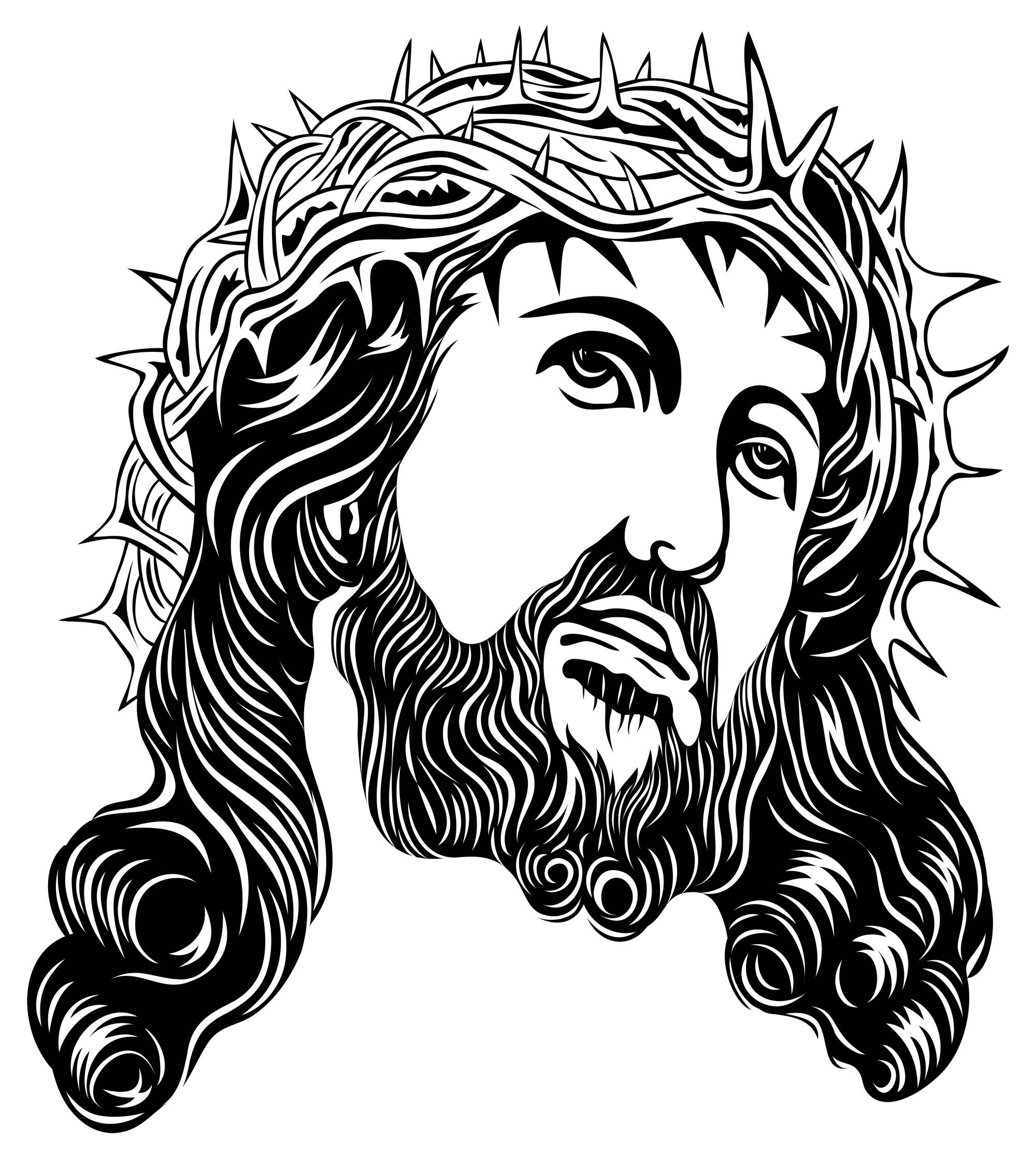 hight resolution of jesus christ with crown of thorns png clip art