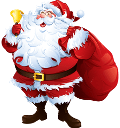 santa claus with bell and bag png clipart [ 4000 x 4416 Pixel ]