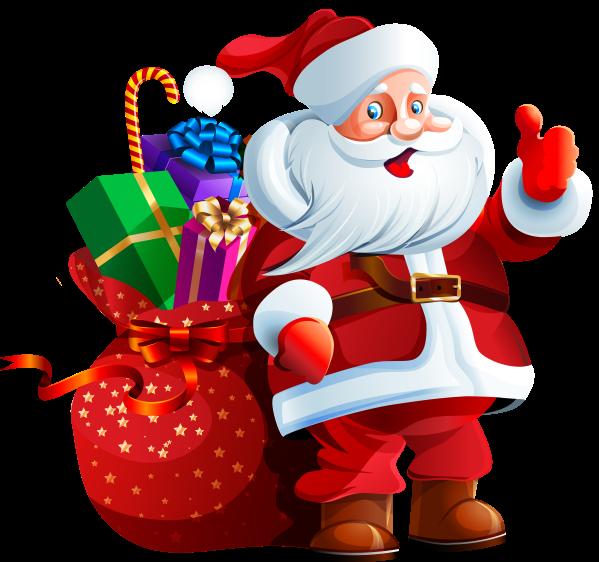 santa claus with big bag clipart